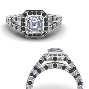 Asscher Cut Hidden Halo Diamond Ring