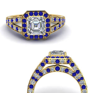 Under Halo Sapphire Pave Ring