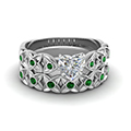 Heart Cut Ring With Emerald Band