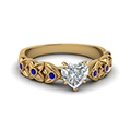 heart shaped floral style accent diamond engagement ring with blue sapphire in 14K yellow gold FD121955HTRGSABL NL YG
