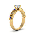 heart shaped floral style accent diamond engagement ring with blue sapphire in 14K yellow gold FD121955HTRGSABLANGLE2 NL YG