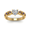 heart shaped floral style accent diamond engagement ring with blue sapphire in 14K yellow gold FD121955HTRGSABLANGLE5 NL YG