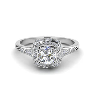 Square Halo Diamond Ring