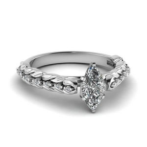 Leaf Design Marquise Diamond Ring