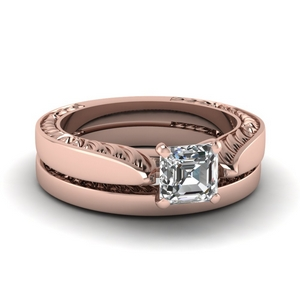 Rose Gold Asscher Cut Ring Set