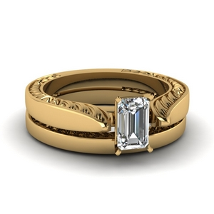 Emerald Cut Engraved Ring Set