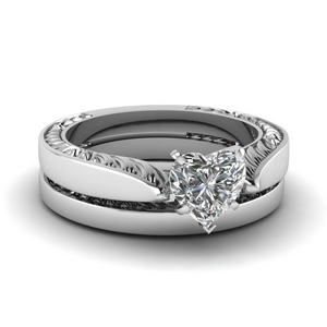 Tapered Heart Diamond Bridal Set