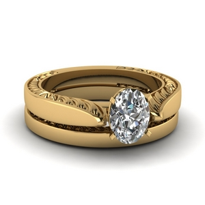 Yellow Gold Engraved Bridal Set