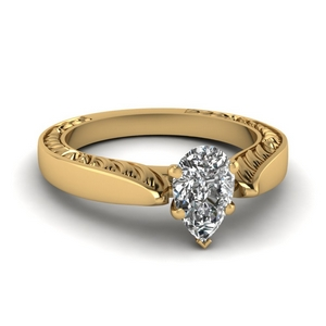 Tapered Engraved Solitaire Ring