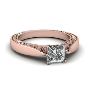 Tapered Solitaire Engraved Engagement Ring