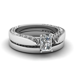 Engraved Solitaire Lab Created Diamond Ring Set