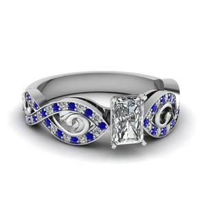 Radiant Cut Pave Set Sapphire Ring