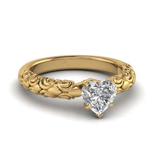 Filigree Heart Shaped Solitaire Ring