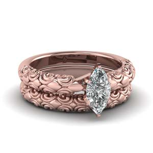 Filigree Engraved Bridal Ring Set