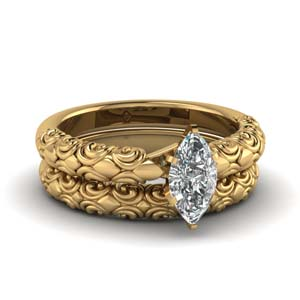 Filigree Design Bridal Ring Set