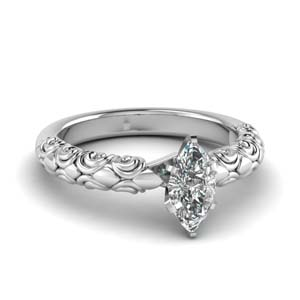 Marquise Cut Filigree Engagement Ring