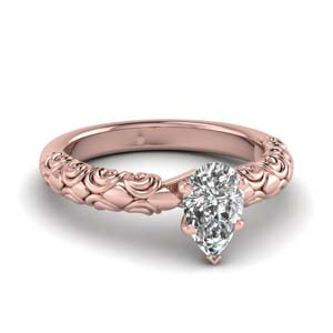 Filigree Pear Diamond Engagement Ring