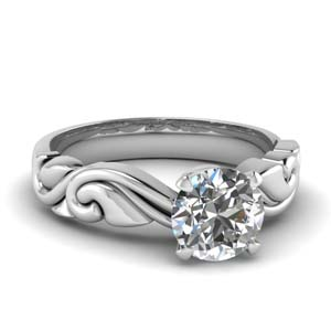 Single Diamond Ring In 18K White Gold