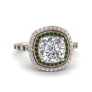 petite cushion diamond engagement ring with emerald double halo in FD121992CURGEMGR NL RG.jpg