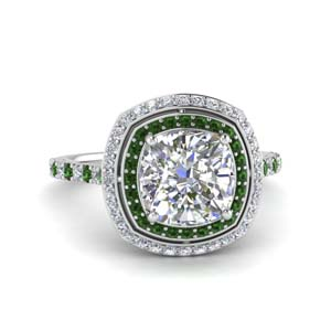 petite cushion diamond engagement ring with emerald double halo in FD121992CURGEMGR NL WG.jpg
