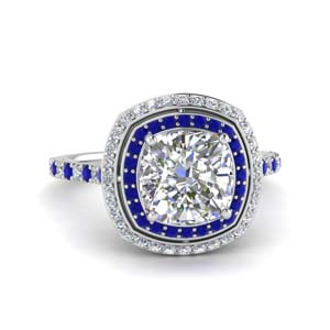 Cushion Diamond Halo Ring 2.50 Carat