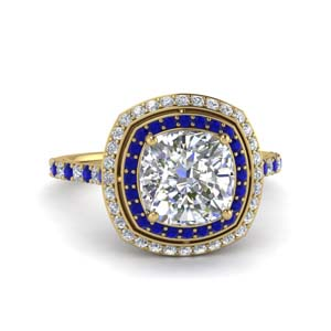 Sapphire Double Halo Petite Ring