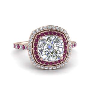 Petite Pink Sapphire Halo Ring