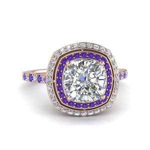 Purple Topaz Ring With Double Halo