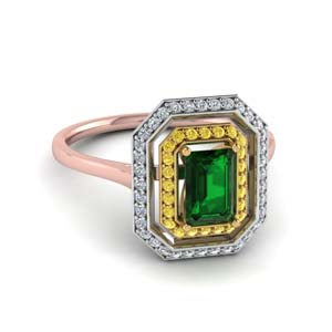 1.25 Carat Double Halo Emerald Ring