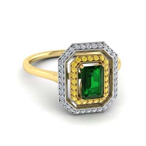 14K Yellow Gold Emerald Engagement Ring