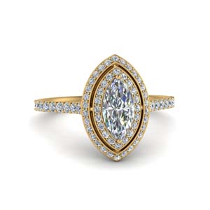 Pave Marquise Diamond Halo Ring