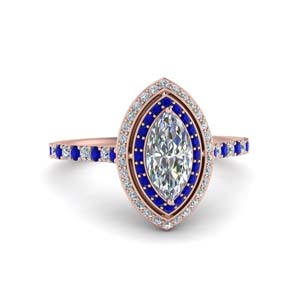 Sapphire Marquise Double Halo Ring