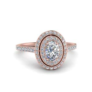Diamond Double Halo Oval Ring