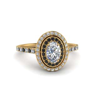Black Diamond Gold Halo Ring