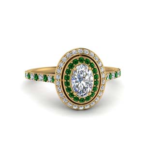 18K Gold Oval Halo Emerald Ring