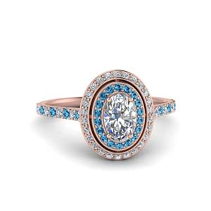 Halo Diamond Ring With Blue Topaz