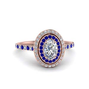 Oval Halo Ring With Sapphire