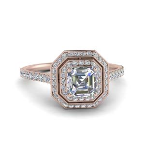 Double Halo Asscher Diamond Ring 2.50 Carat