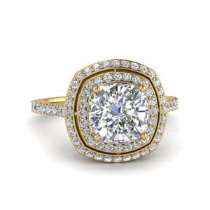 Petite Cushion Cut Double Halo Ring