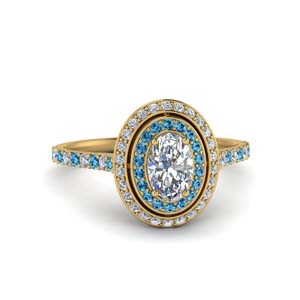 Double Halo Oval Blue Topaz Ring