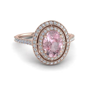 2.50 Ctw. Double Halo Morganite Ring
