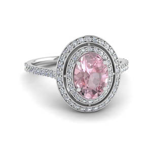 Morganite Double Halo Diamond Ring
