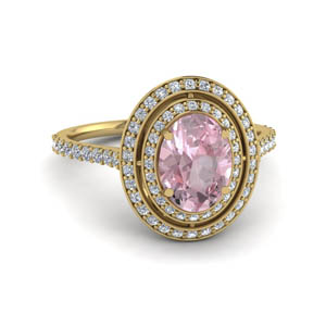Double Halo Morganite Oval Ring