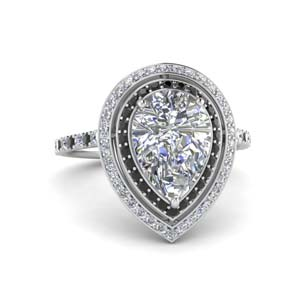 2.50 Ctw. Pear Diamond Ring Double Halo