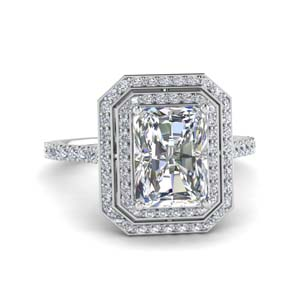 Double Halo Radiant Diamond Ring