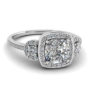 Diamond 3 Stone Pave Halo Ring