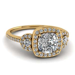 Three Stone Pave Halo Ring