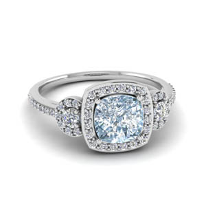 Aquamarine 3 Stone Pave Halo Ring