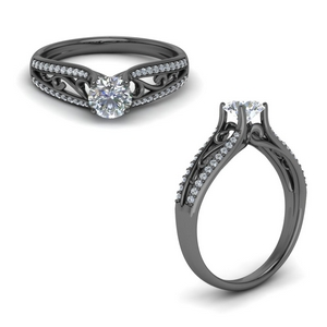 Tapered Filigree Diamond Black Gold Ring