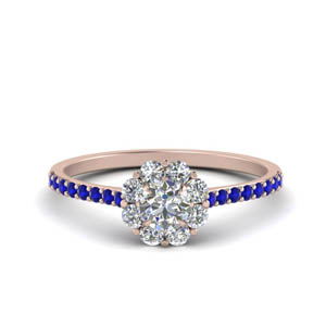 Flower Halo Sapphire Ring